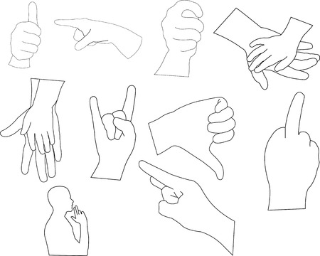 hands outline vector silhouette