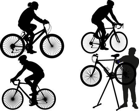ludzie jeżdżący i naprawiający rowery