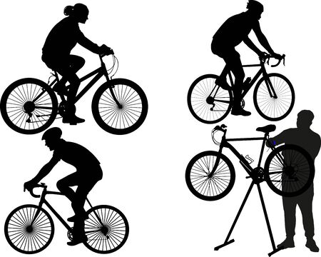 people riding and fixing bicycles