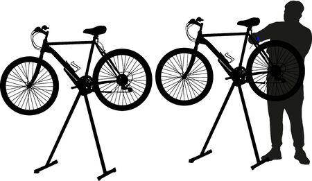repairman fixing bicycle Иллюстрация