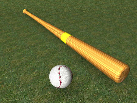 lie down: 3D illustration of baseball bat on a green grass background