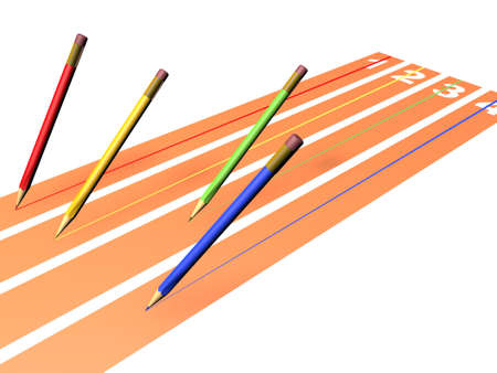 Four pencils are racing at athletic track photo