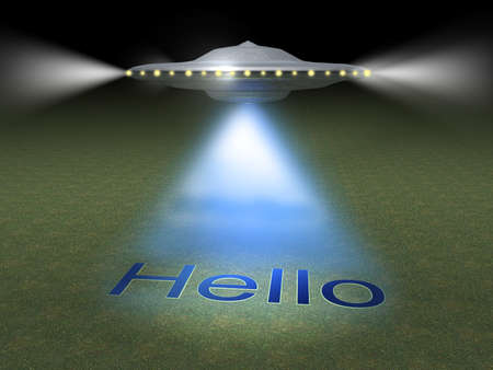 upraise: Illustration of flying ufo which prints word  hello  with light ray