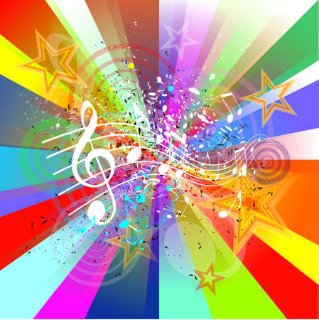 Abstract colorful music background with notes  photo