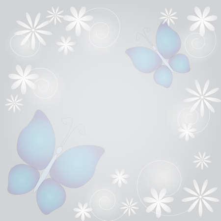 Abstract background with butterflies and flowers in pastels Illustration
