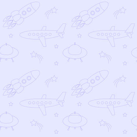 Blue seamless pattern with cute planes, rockets and UFO s vector Illustration