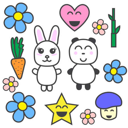 Kawaii set of bunny panda flower star carrot heart Vector