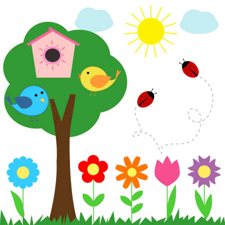 childish: Набор цветов божьи коровки птиц для записок
