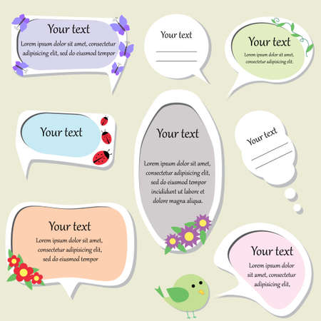 cute text box: set of cute text frames  vector illustration