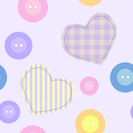 girl in love: Seamless background with hearts and buttons