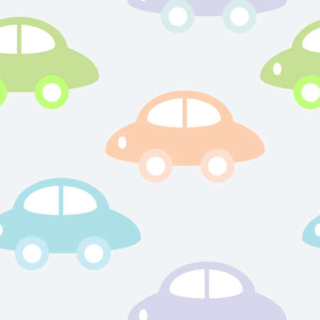 Childish seamless background with cars Vector