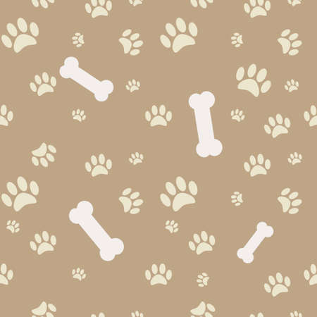 Background with dog paw print and bone in brown Vector