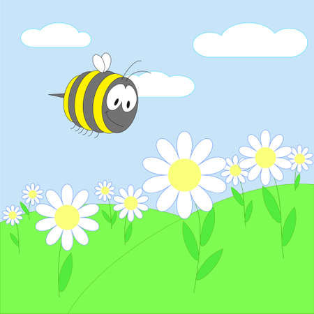 Landscape with bee on flower Vector