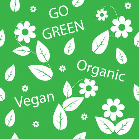 Go green seamless background with leaves and flowers Vector