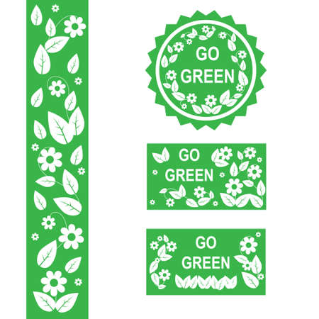 Set of eco elements go green Vector