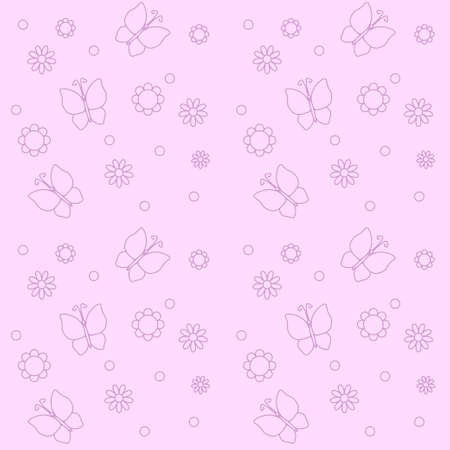 Cute pink background with flowers and butterflies vector