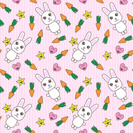 Kawaii background with cute bunnies vector Illustration