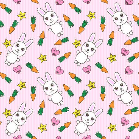Kawaii background with cute bunnies vector Vector