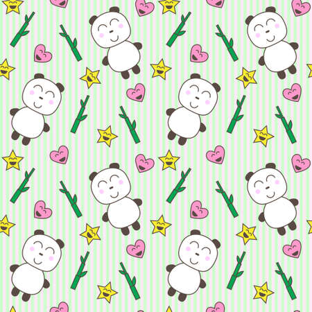 Kawaii background with cute pandas vector Vector