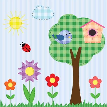 Checkered cute landscape for scrapbook Vector
