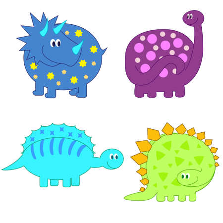 Set of cute funny Dinosaurs vector Vector