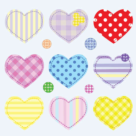 Set hearts and buttons for scrapbook Vector