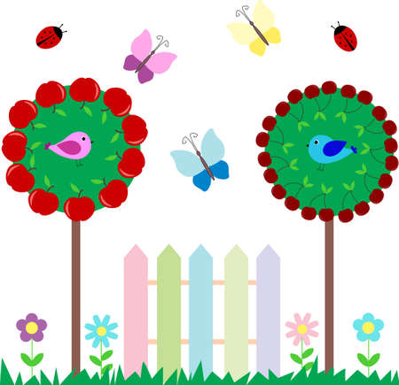 garden fence: Set of butterflies birds flowers fruits for scrapbook Illustration