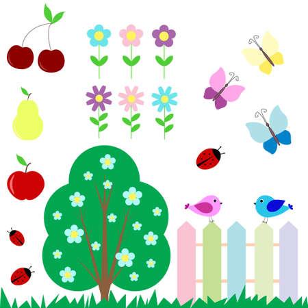 pear tree: Set of flowers, fruits, butterflies, birds for scrapbook
