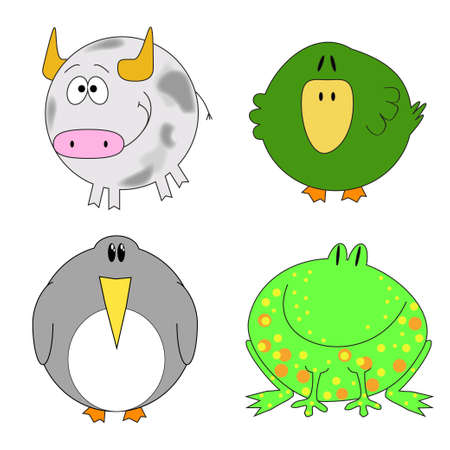 Set of funny animals - bull, duck, penguin, frog Illustration