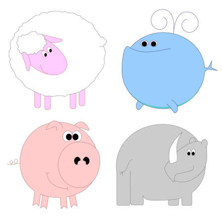 Set of funny animals - sheep, whale, pig, rhino Illustration
