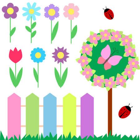 garden fence: Set of flowers for scrapbook Illustration
