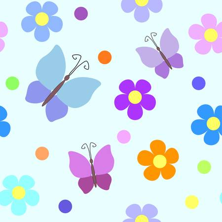 Seamless pattern with flowers, rounds and butterflies Vector