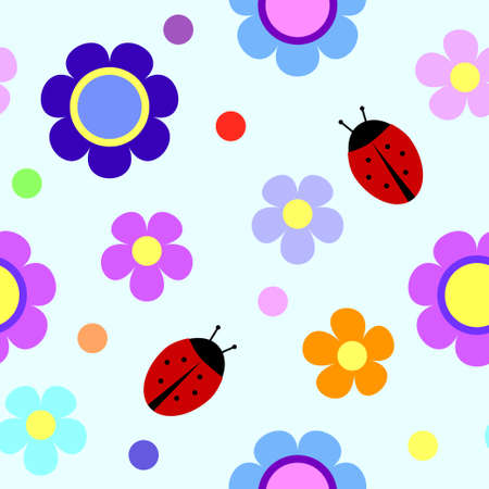 Seamless pattern with flowers, rounds and ladybugs Vector