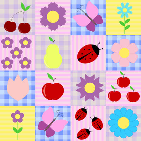 Spring background with fruits and flowers, ladybugs and butterflies