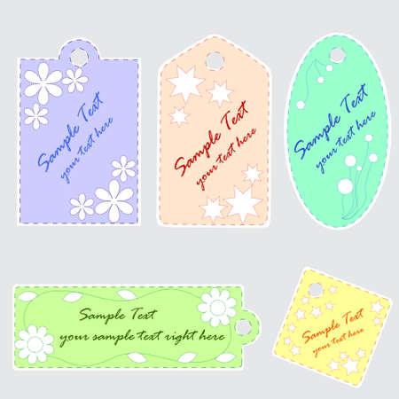 Set of 5 cute scrapbook tags Vector