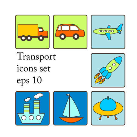 Cute colorful transport icons set