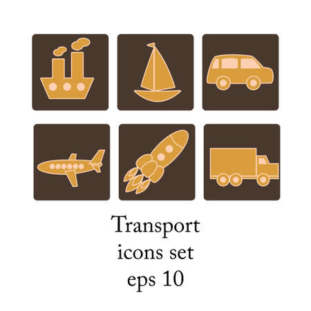 Grunge transport icons set vector