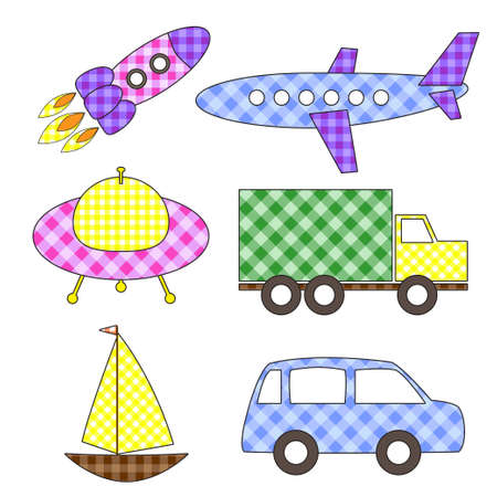 Set of cute cartoon vector colorful transport stickers Çizim