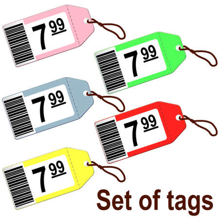 Set of tags for shops Illustration