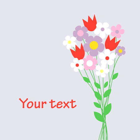 Cute bouquet of flowers  vector illustration