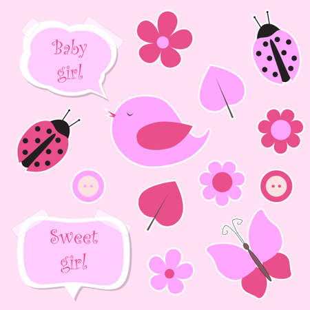 Set of pink scrapbook elements for baby girl vector