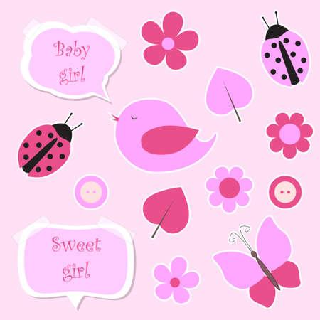 Set of pink scrapbook elements for baby girl vector