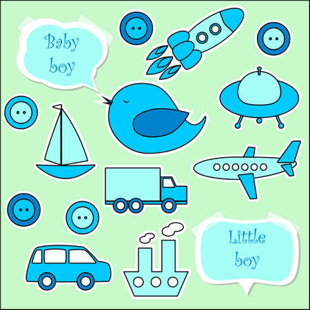 Set of scrapbook elements for baby boy  eps 10 Vector