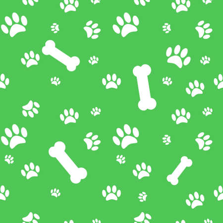 Background with dog paw print and bone eps 10