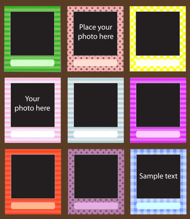 Vector photo frame set for scrapbook  eps 10