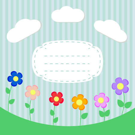 Background with flowers and frame for scrapbook vector Vector