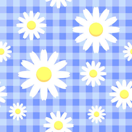Chamomiles on blue checkered background, seamless pattern  eps 10 Illustration