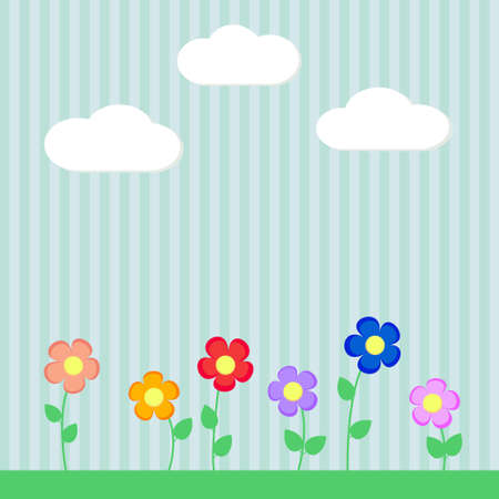 Background with flowers for scrapbook vector Illustration