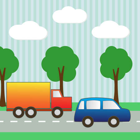 Background with car and truck for scrapbook vector Vector