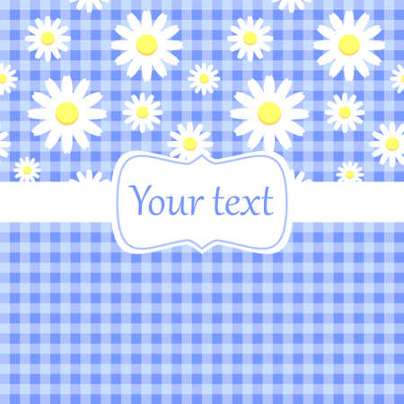 gingham pattern: Cute blue card invitation with chamomile